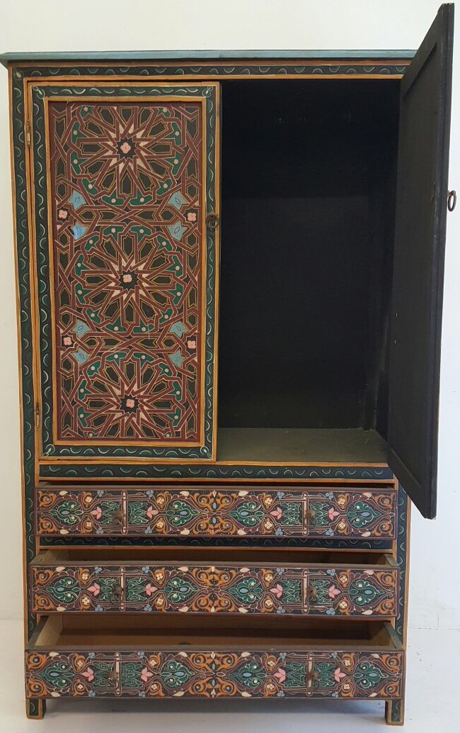 Moroccan painted armoire