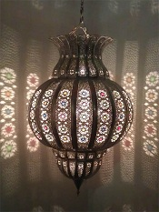Silver tin chandelier