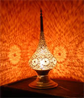 Moresque brass lamp